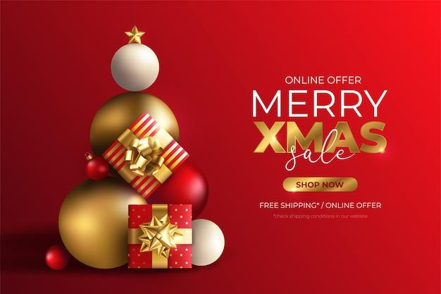 プレゼントで作られたツリーとクリスマスセールバナー 無料ベクター