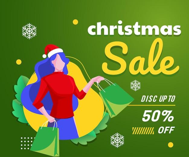 女性のショッピングの背景とクリスマスセールバナー Premiumベクター