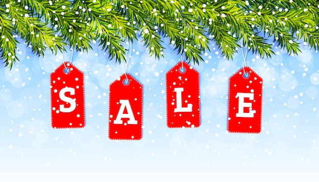 Christmas sale banner Premium Vector