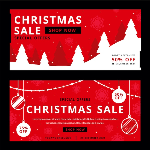 Christmas sale banners in flat design Free Vector
