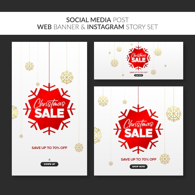 Christmas sale banners for web, social media post and instagram story Premium Vector