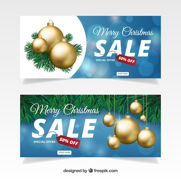 Christmas sale banners with golden balls