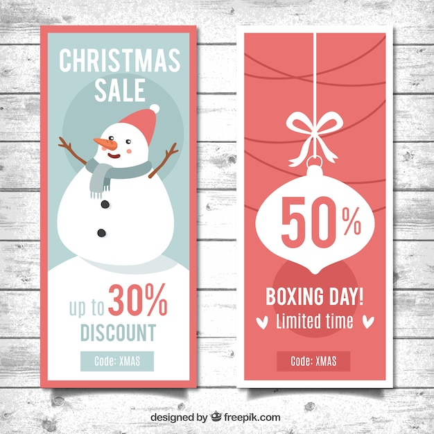 Christmas sale banners with nice snowman