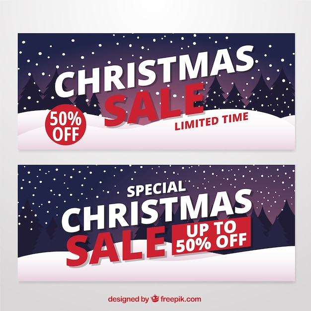 Christmas sale banners with snow