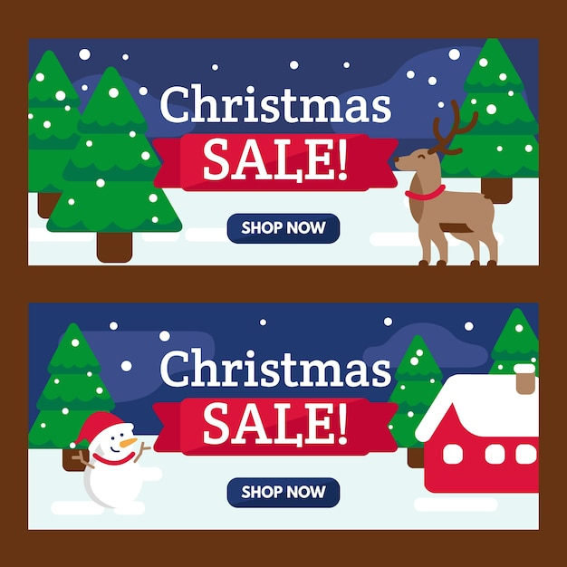 Christmas sale banners with trees and reindeer Free Vector