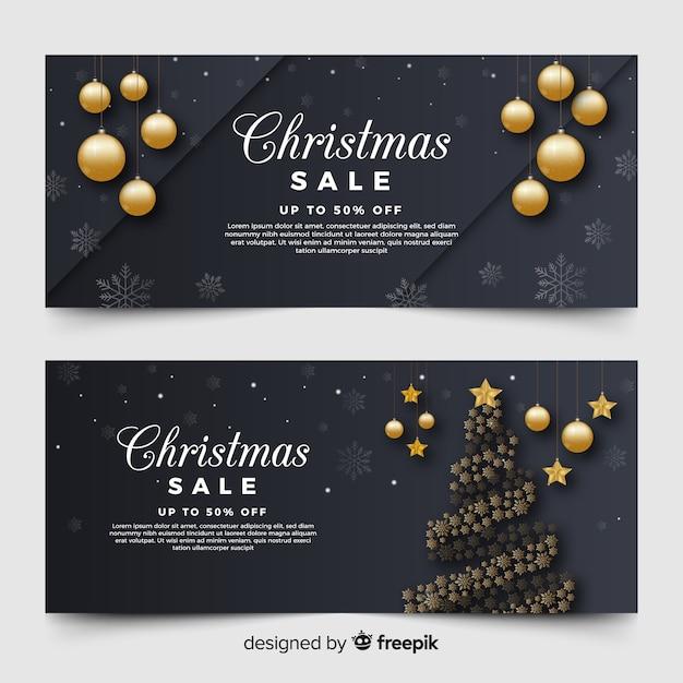 Christmas sale banners Free Vector