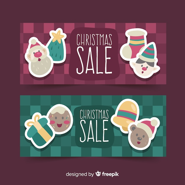 Christmas sale banners Free Vector