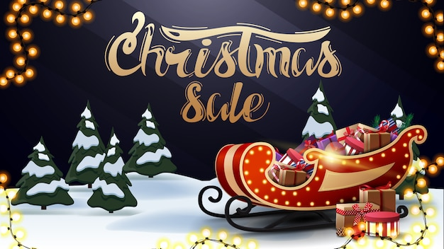 Christmas sale, beautiful dark and blue discount banner with gold lettering, cartoon winter forest and santa sleigh with presents Premium Vector