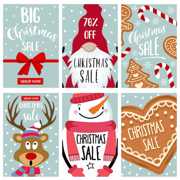 Christmas sale card collection Premium Vector