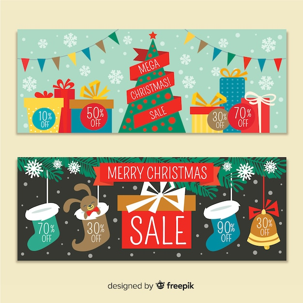 Christmas sale colorful banner Free Vector