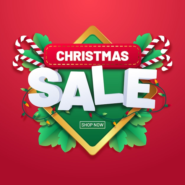 Christmas sale concept in flat design Free Vector