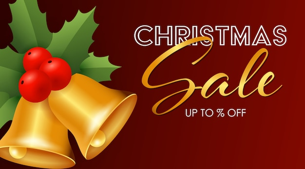 Christmas sale design with jingle bells Free Vector