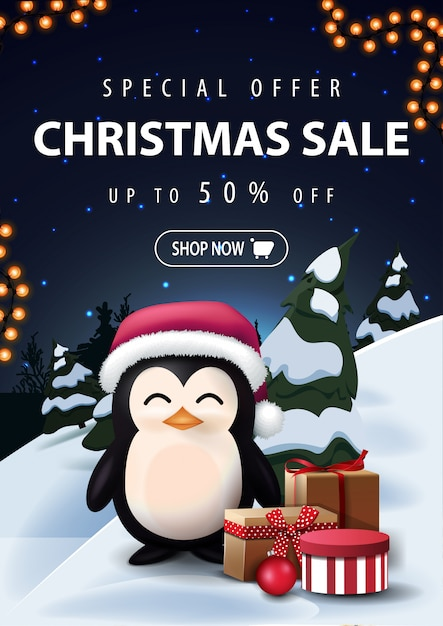 Christmas sale discount banner with night cartoon winter landscape Premium Vector