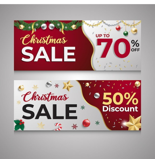 Christmas sale discount red and white banner Premium Vector