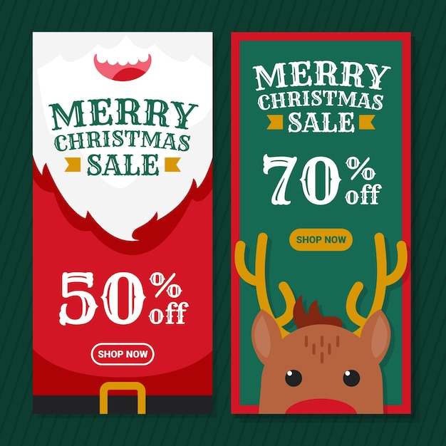 Рождественская распродажа плоский дизайн баннера Бесплатные векторы