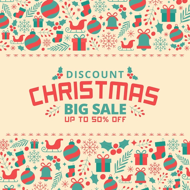 Christmas sale in flat design Free Vector
