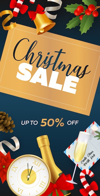 Christmas sale flyer design with champagne Free Vector
