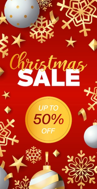 Christmas sale flyer design with discount tag Free Vector