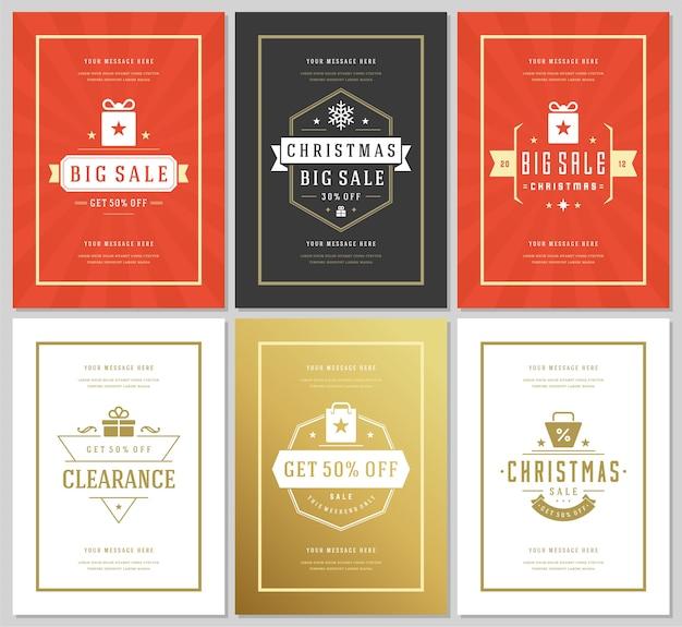 クリスマスセールチラシやバナーデザインセット割引オファー Premiumベクター