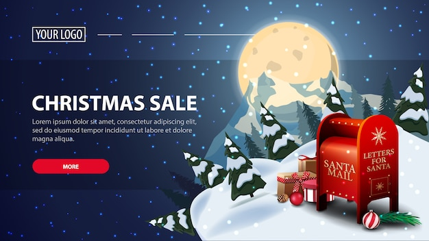 Christmas sale horizontal discount web banner with starry night Premium Vector