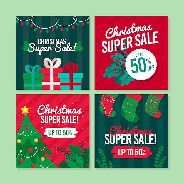 Christmas sale instagram post collection Free Vector