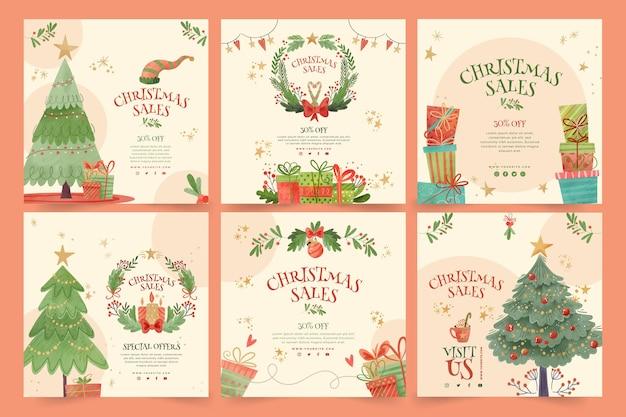 クリスマスセールinstagramポストコレクション Premiumベクター