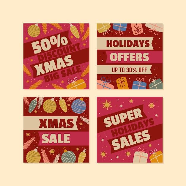 Рождественская распродажа в instagram Premium векторы