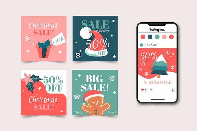 Рождественская распродажа в instagram Бесплатные векторы