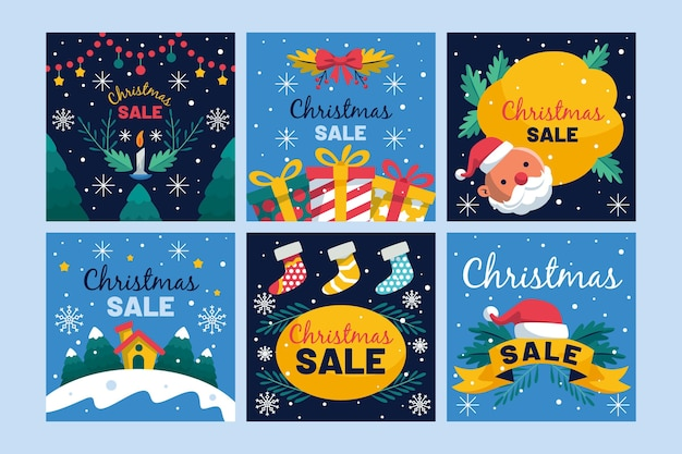 크리스마스 판매 instagram 게시물 수집 무료 벡터