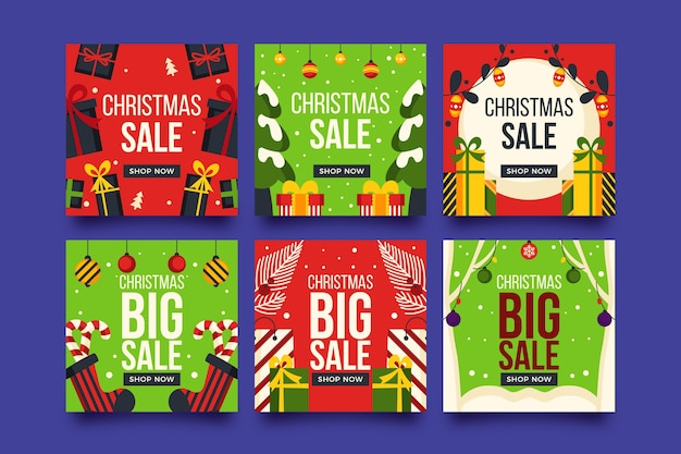 Christmas sale instagram post set Free Vector