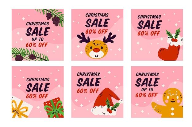 Christmas sale instagram post set Free Vector