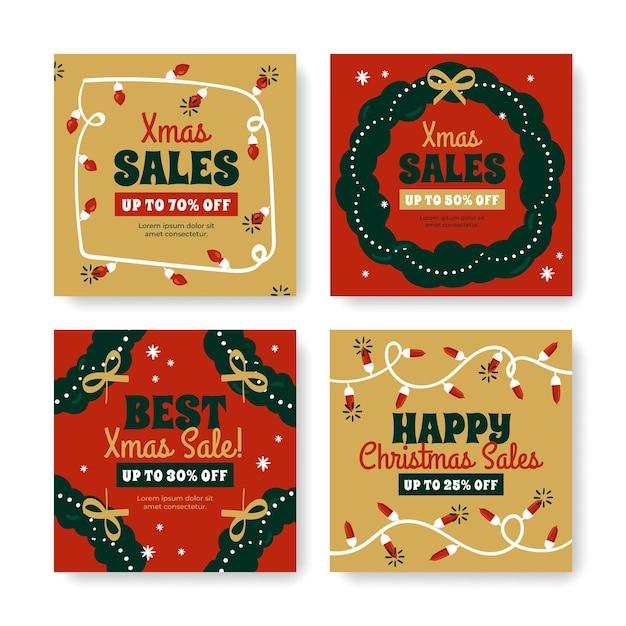 クリスマスセールinstagram投稿テンプレートコレクション 無料ベクター