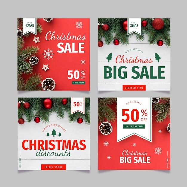 Christmas sale instagram posts Free Vector