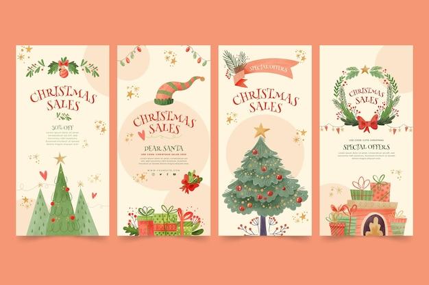 Christmas sale instagram stories collection Premium Vector