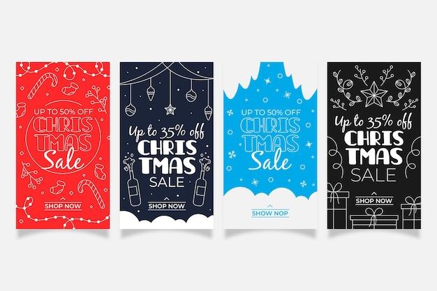 クリスマスセールinstagramストーリーコレクション Premiumベクター