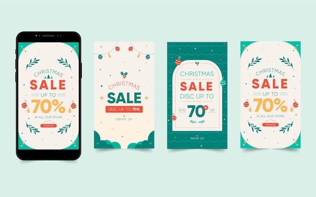 크리스마스 판매 인스 타 그램 스토리 컬렉션 무료 벡터