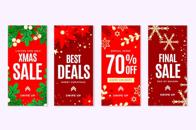 Raccolta di storie di instagram di vendita di natale Vettore gratuito