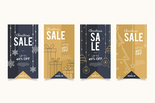 Christmas sale instagram stories collection Free Vector