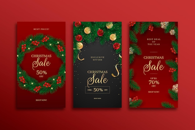 Christmas sale instagram stories set Free Vector