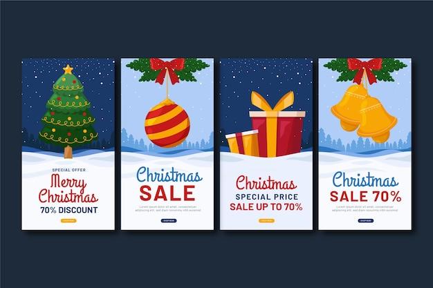 Рождественские продажи instagram рассказы Бесплатные векторы