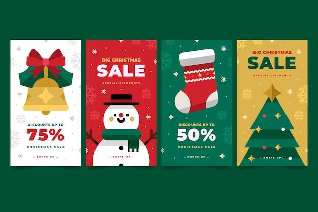 Christmas sale instagram stories Free Vector