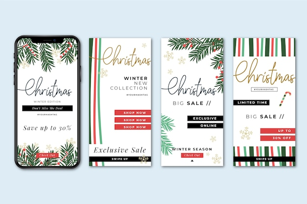 Christmas sale instagram story collection Premium Vector