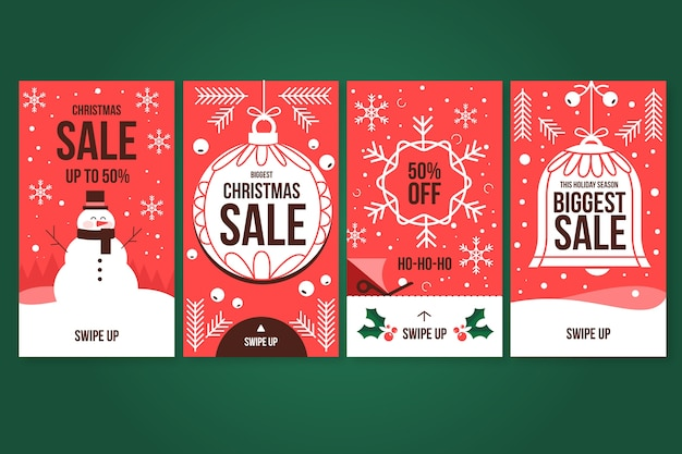 Christmas sale instagram story collection Free Vector