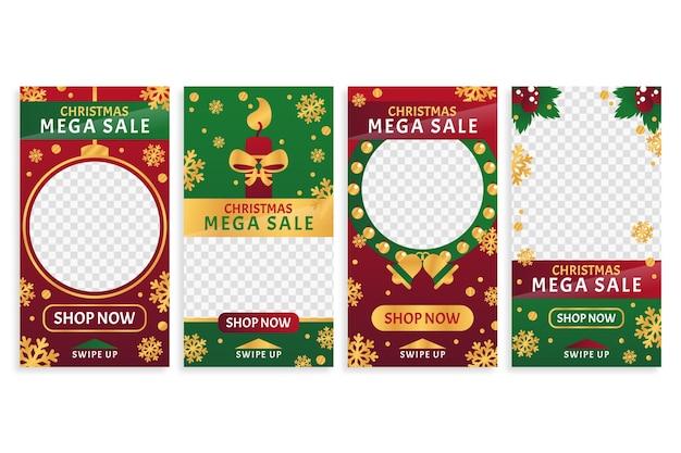 Christmas sale instagram story set Free Vector