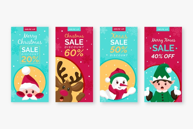 Christmas sale instagram story set Free Vector