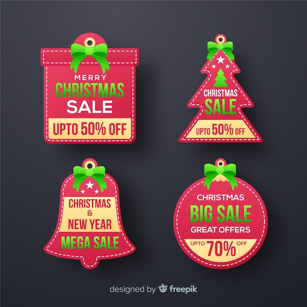 Christmas sale label pack Free Vector