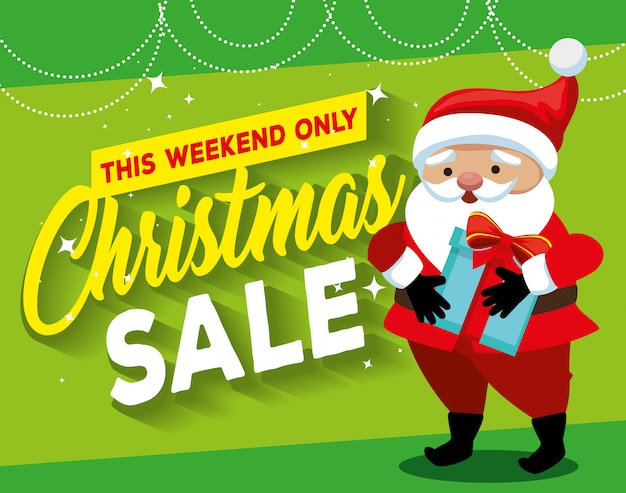 Christmas sale label with santa claus character Premium Vector