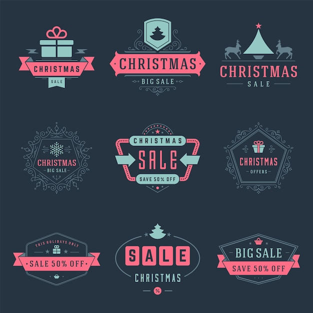 Christmas sale labels and badges with text typographic decoration design vector vintage style set for banners, promotion brochures, holidays discount posters, shopping advertising flyers Premium Vector