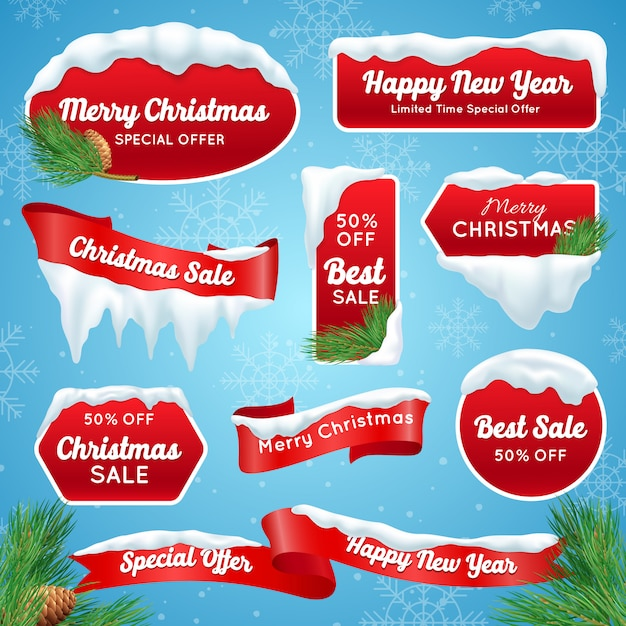 Christmas sale labels Free Vector