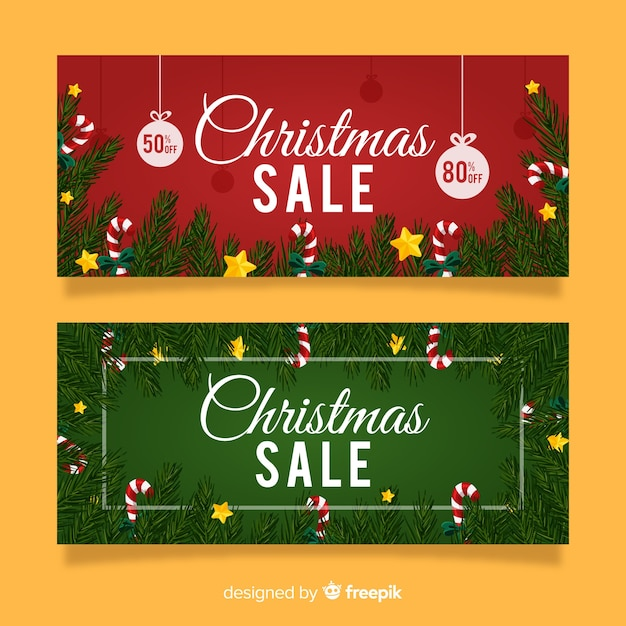 Christmas sale pine branches banner Free Vector